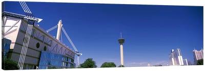 Buildings in a city, Alamodome, Tower of the Americas, San Antonio Marriott, Grand Hyatt San Antonio, San Antonio, Texas, USA Canvas Art Print