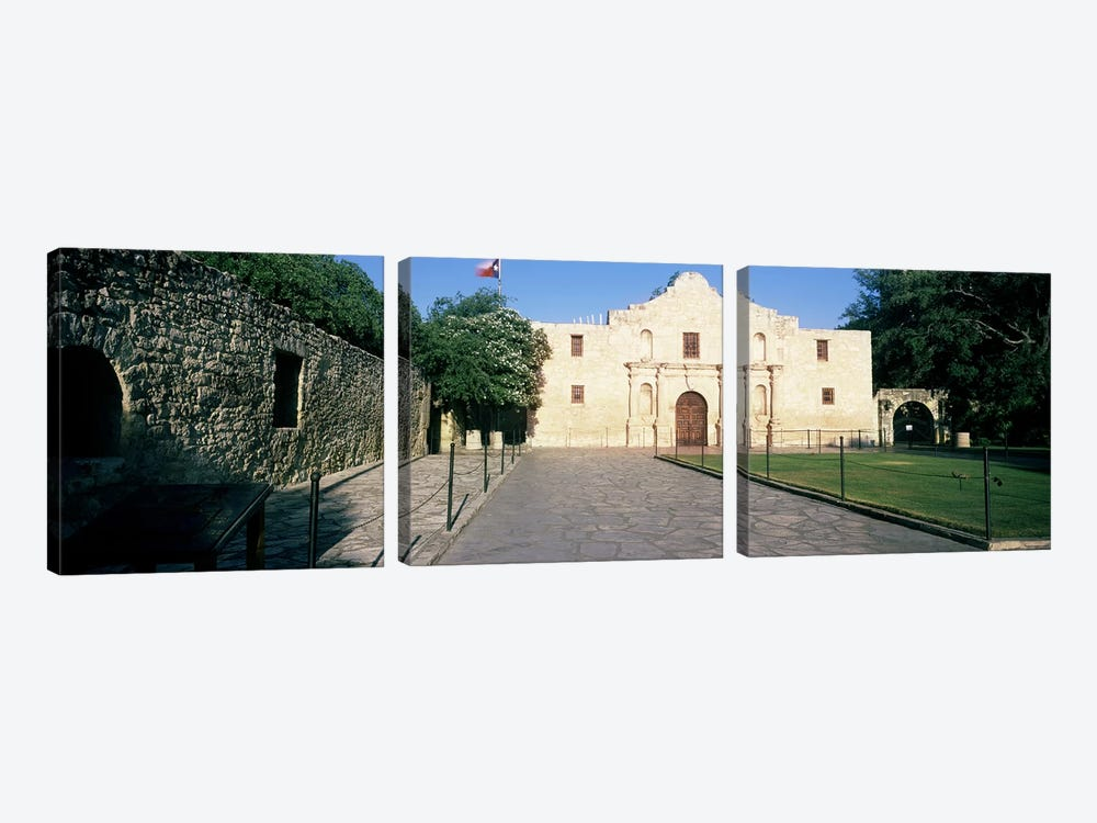 Facade of a building, The Alamo, San Antonio, Texas, USA by Panoramic Images 3-piece Canvas Print