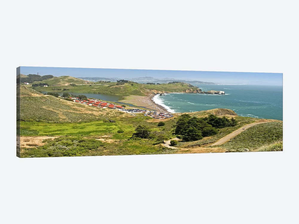 High angle view of a coast, Marin Headlands, Rodeo Cove, San Francisco, Marin County, California, USA by Panoramic Images 1-piece Canvas Wall Art