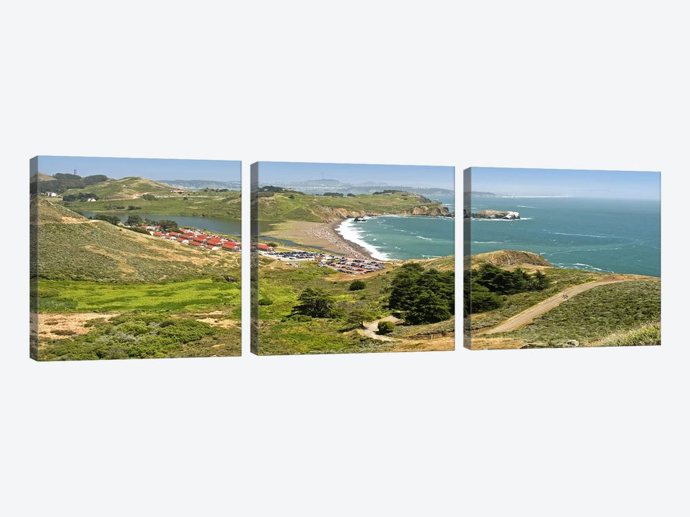High angle view of a coast, Marin Headlands, Rodeo Cove, San Francisco, Marin County, California, USA by Panoramic Images 3-piece Canvas Art