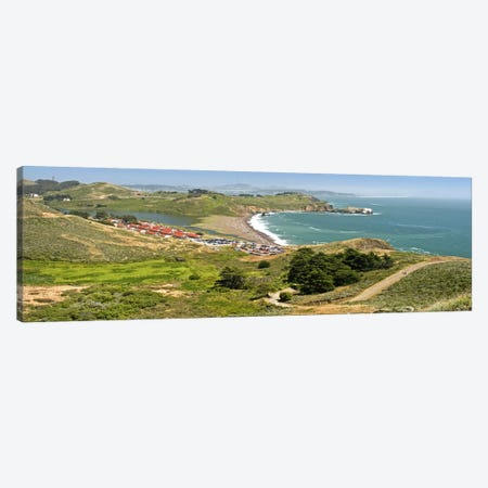 High angle view of a coast, Marin Headlands, Rodeo Cove, San Francisco, Marin County, California, USA Canvas Print #PIM10767} by Panoramic Images Canvas Wall Art
