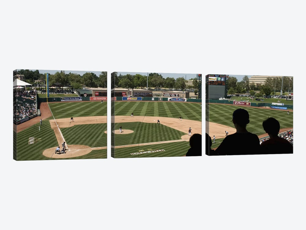 Spectator watching a baseball match at stadium, Raley Field, West Sacramento, Yolo County, California, USA by Panoramic Images 3-piece Art Print