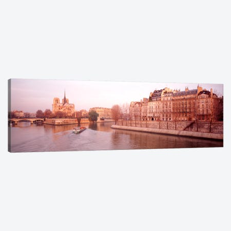 Waterfront Architecture Along The Seine, Ile de la Cite & Ile Saint-Louis, Paris, France Canvas Print #PIM1076} by Panoramic Images Canvas Print