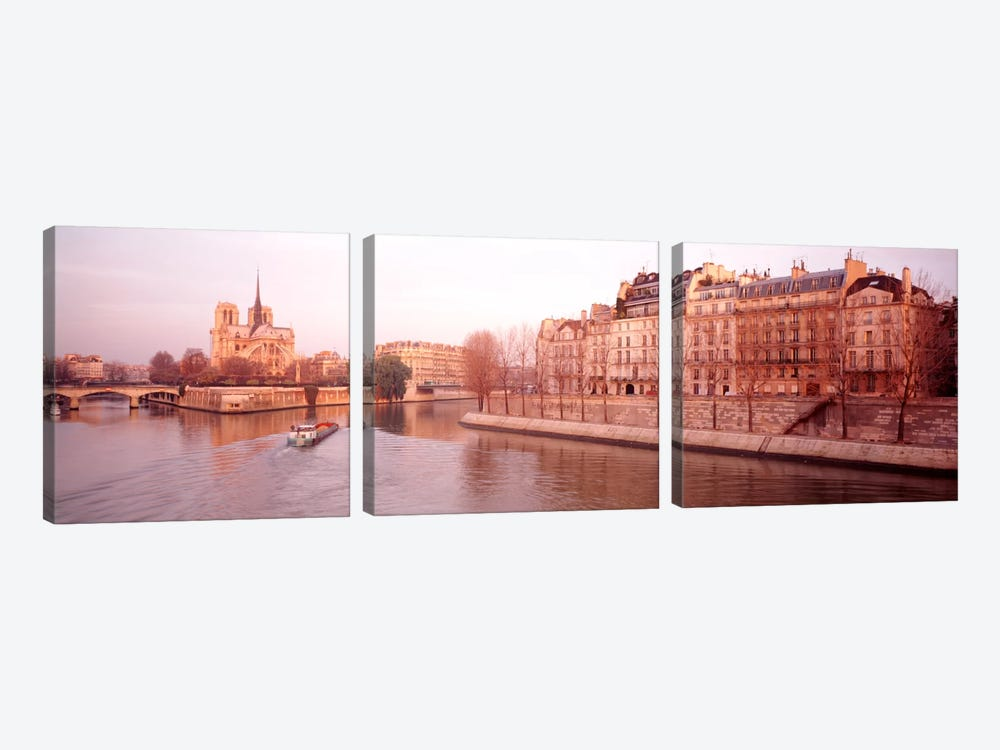 Waterfront Architecture Along The Seine, Ile de la Cite & Ile Saint-Louis, Paris, France by Panoramic Images 3-piece Canvas Art Print