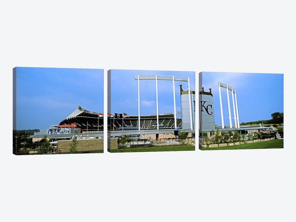 Baseball stadium in a city, Kauffman Stadium, Kansas City, Missouri, USA 3-piece Canvas Wall Art