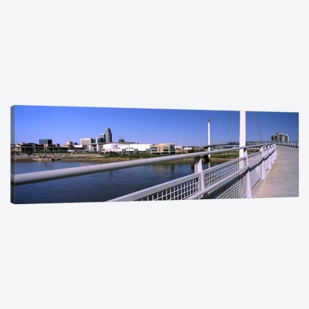 Bridge across a river, Bob Kerrey Pedestrian Bridge, Missouri River, Omaha, Nebraska, USA Canvas Print #PIM10783} by Panoramic Images Canvas Art Print