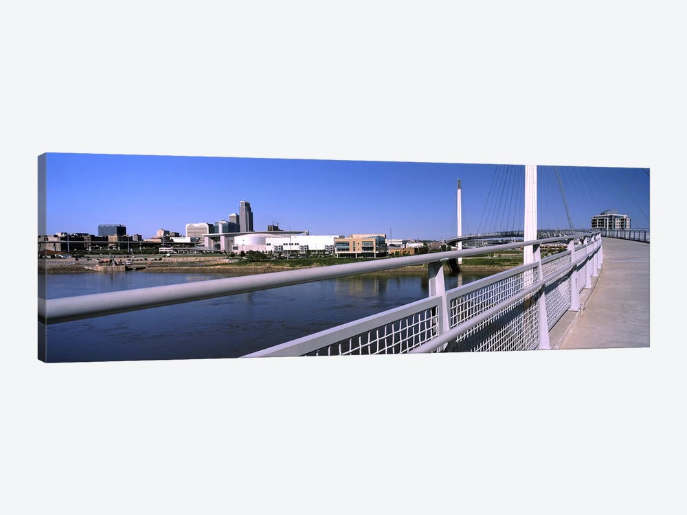 Bridge across a river, Bob Kerrey Pedestrian Bridge, Missouri River, Omaha, Nebraska, USA by Panoramic Images 1-piece Canvas Artwork
