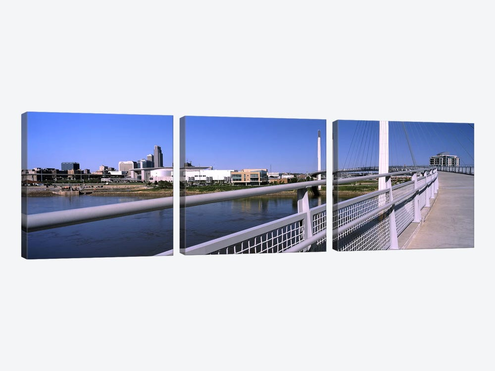 Bridge across a river, Bob Kerrey Pedestrian Bridge, Missouri River, Omaha, Nebraska, USA by Panoramic Images 3-piece Canvas Art