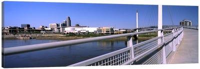 Bridge across a river, Bob Kerrey Pedestrian Bridge, Missouri River, Omaha, Nebraska, USA Canvas Art Print