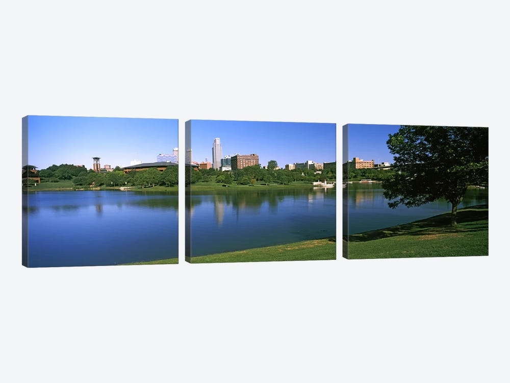 Buildings at the waterfront, Omaha, Nebraska, USA #2 by Panoramic Images 3-piece Canvas Print