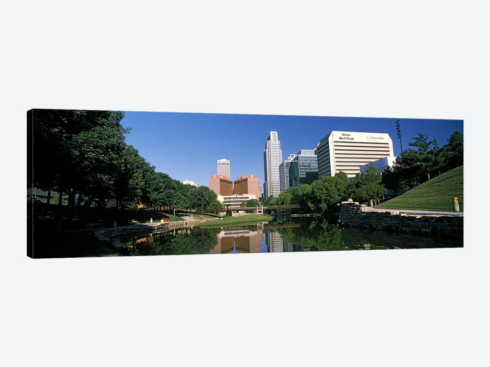 Buildings at the waterfront, Qwest Building, Omaha, Nebraska, USA by Panoramic Images 1-piece Canvas Art