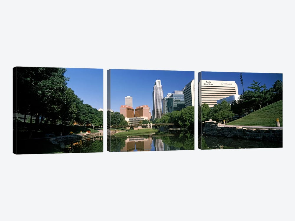 Buildings at the waterfront, Qwest Building, Omaha, Nebraska, USA by Panoramic Images 3-piece Canvas Artwork