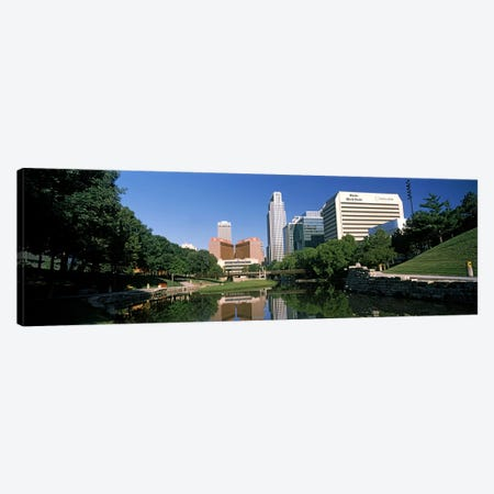 Buildings at the waterfront, Qwest Building, Omaha, Nebraska, USA Canvas Print #PIM10785} by Panoramic Images Canvas Artwork