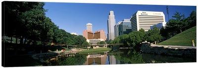 Buildings at the waterfront, Qwest Building, Omaha, Nebraska, USA Canvas Art Print