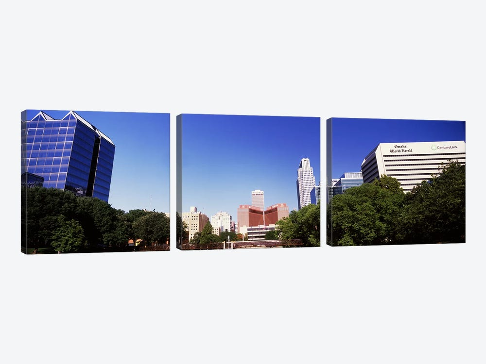Buildings in a city, Qwest Building, Omaha, Nebraska, USA by Panoramic Images 3-piece Canvas Art