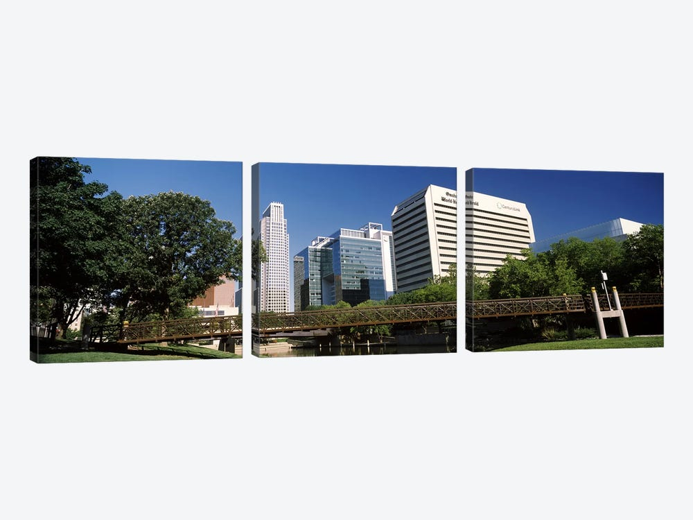 Buildings at the waterfront, Qwest Building, Omaha, Nebraska, USA #2 by Panoramic Images 3-piece Art Print