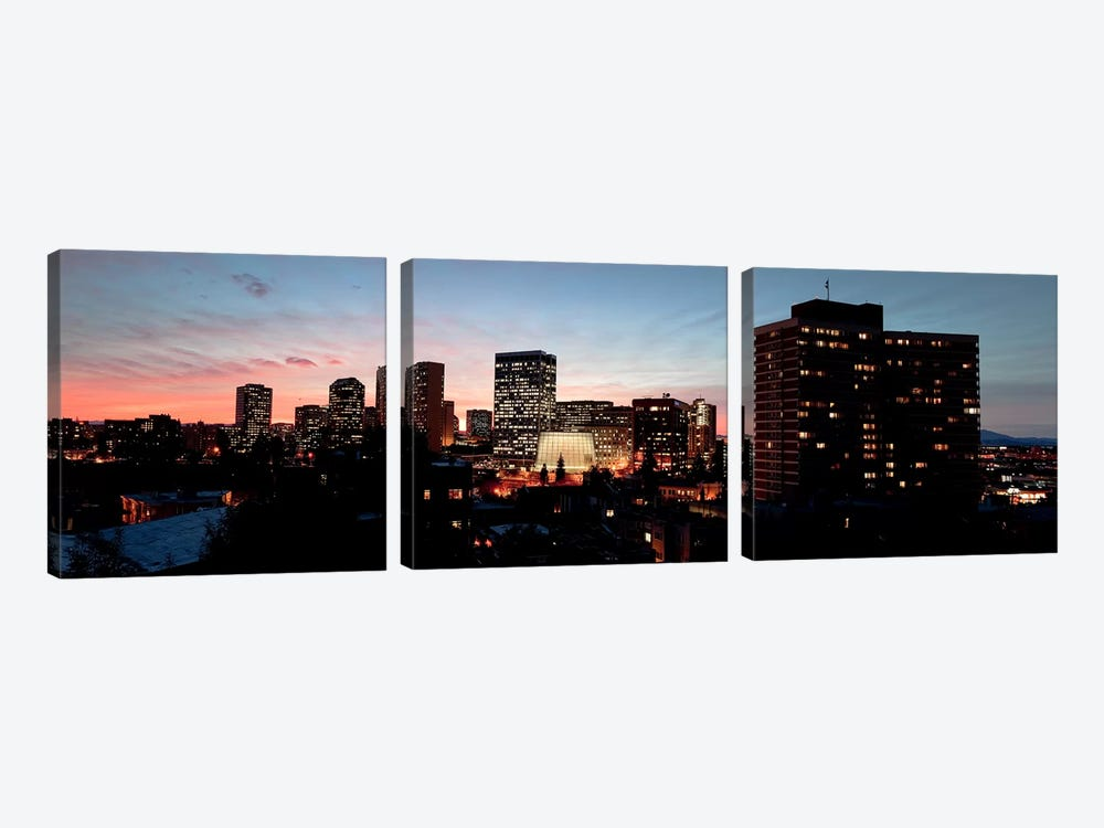 Skyline at dusk, Oakland, California, USA by Panoramic Images 3-piece Canvas Print