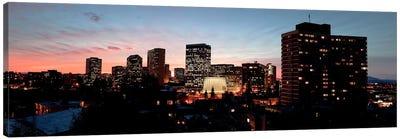 Skyline at dusk, Oakland, California, USA Canvas Art Print