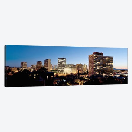 Skyline at dusk, Oakland, California, USA #2 Canvas Print #PIM10796} by Panoramic Images Art Print