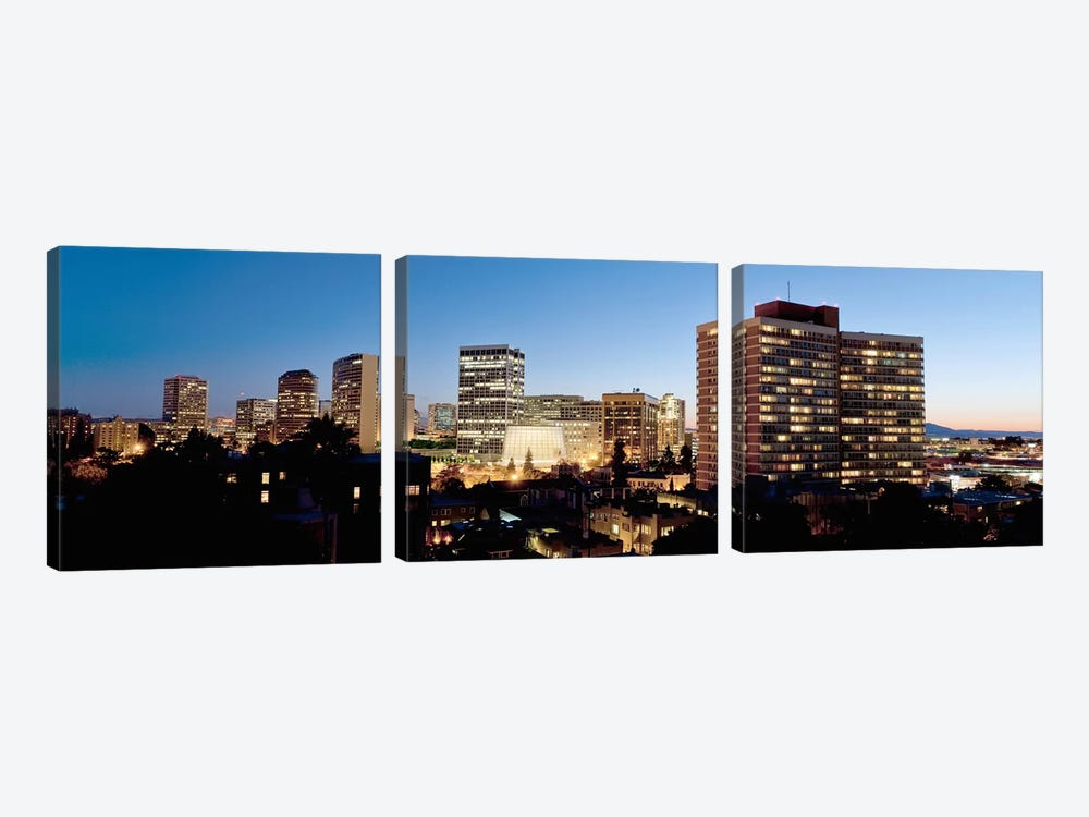 Skyline at dusk, Oakland, California, USA #2 by Panoramic Images 3-piece Canvas Artwork