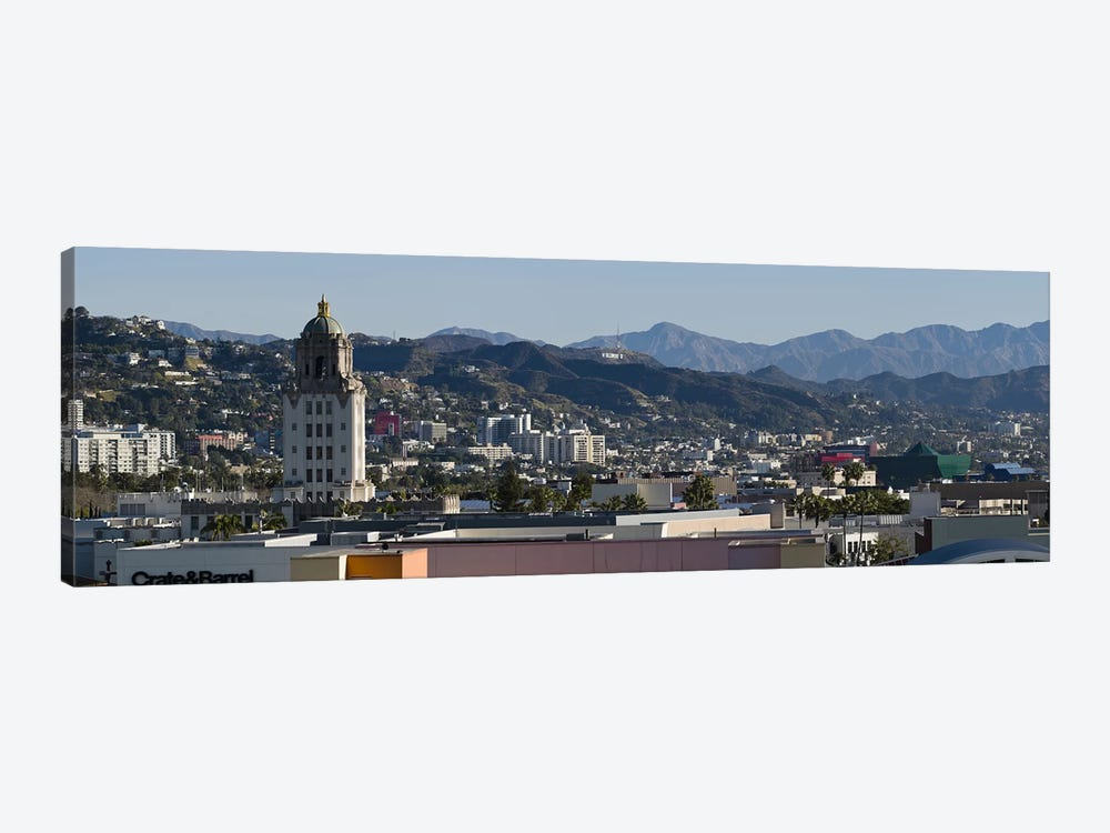 High angle view of a city, Beverly Hills City Hall, Beverly Hills, West Hollywood, Hollywood Hills, California, USA by Panoramic Images 1-piece Canvas Print