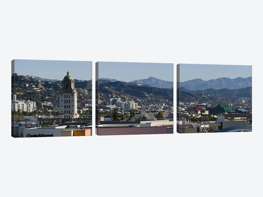 High angle view of a city, Beverly Hills City Hall, Beverly Hills, West Hollywood, Hollywood Hills, California, USA by Panoramic Images 3-piece Canvas Art Print