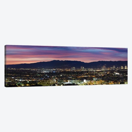 High angle view of a city at dusk, Culver City, Santa Monica Mountains, West Los Angeles, Westwood, California, USA Canvas Print #PIM10801} by Panoramic Images Canvas Wall Art