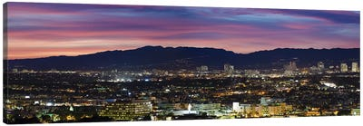 High angle view of a city at dusk, Culver City, Santa Monica Mountains, West Los Angeles, Westwood, California, USA Canvas Art Print
