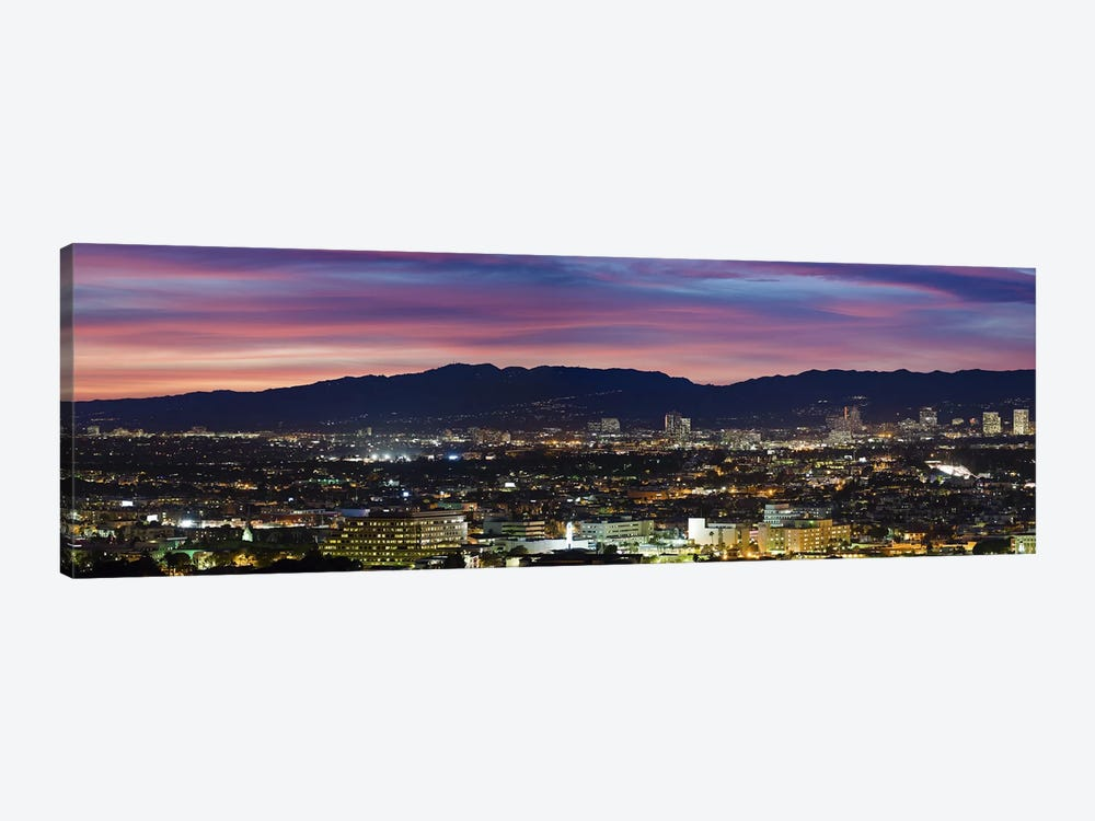 High angle view of a city at dusk, Culver City, Santa Monica Mountains, West Los Angeles, Westwood, California, USA by Panoramic Images 1-piece Canvas Art