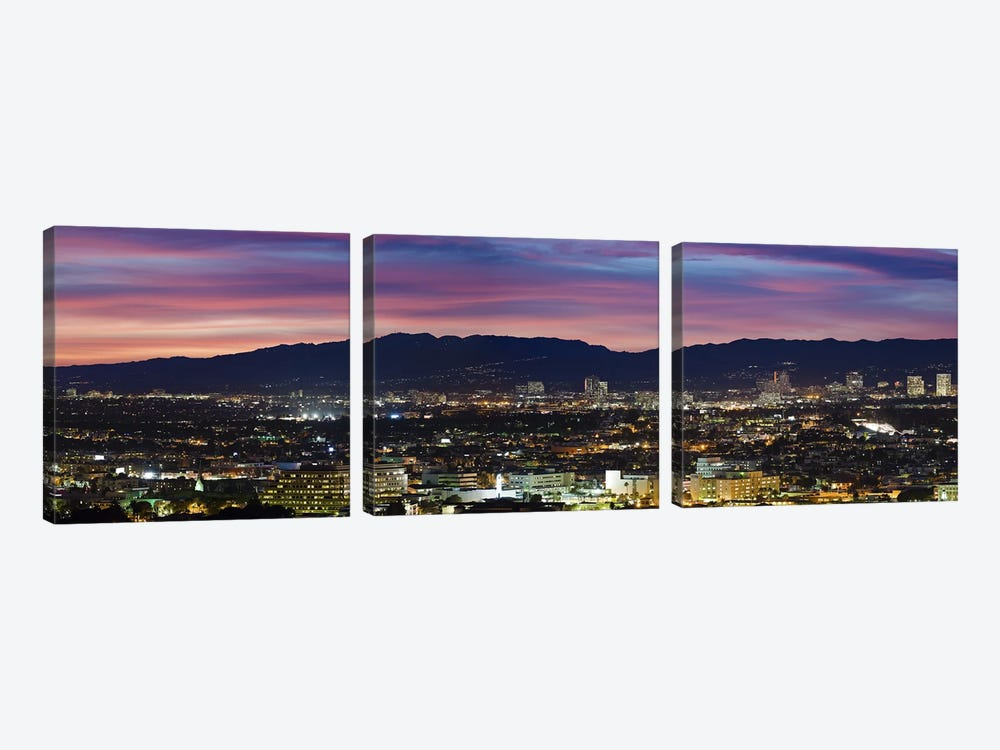 High angle view of a city at dusk, Culver City, Santa Monica Mountains, West Los Angeles, Westwood, California, USA by Panoramic Images 3-piece Canvas Art