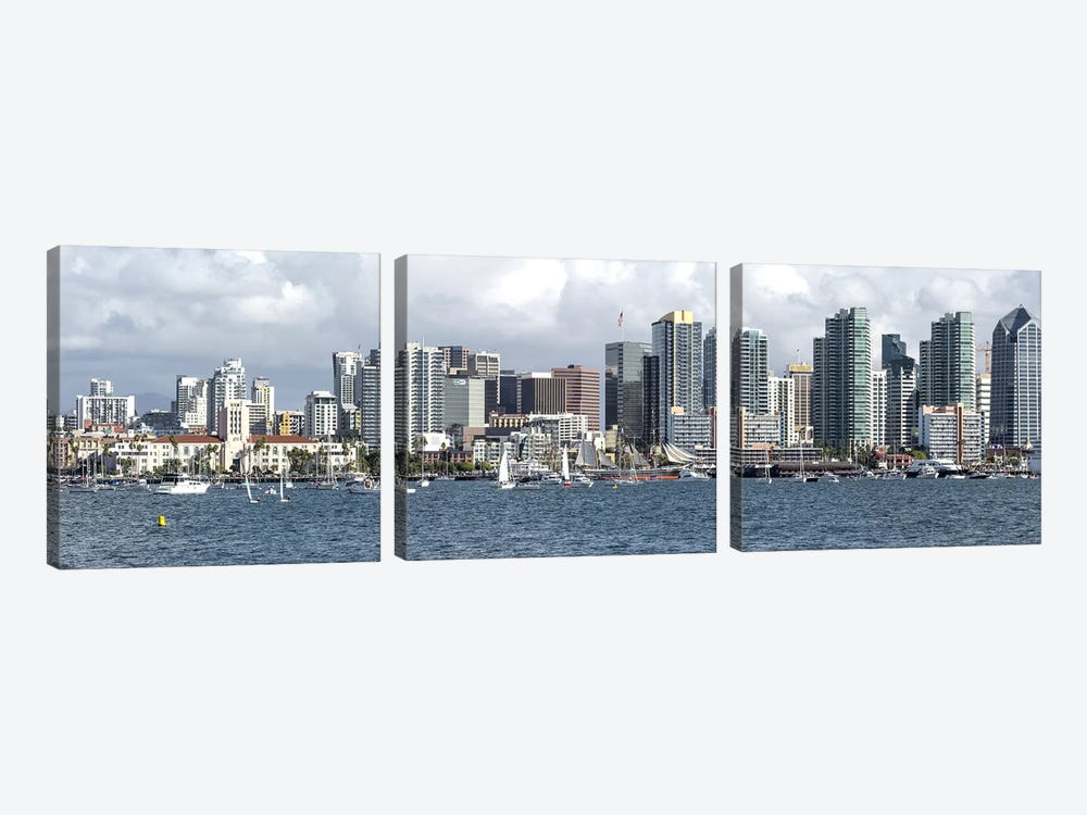 Buildings at the waterfront, San Diego, California, USA by Panoramic Images 3-piece Canvas Art Print