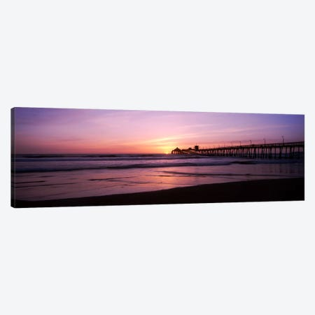 Pier in the pacific ocean at dusk, San Diego Pier, San Diego, California, USA Canvas Print #PIM10809} by Panoramic Images Canvas Artwork