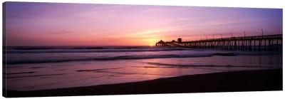 Pier in the pacific ocean at dusk, San Diego Pier, San Diego, California, USA Canvas Art Print
