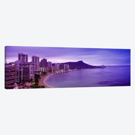 Buildings at the coastline with a volcanic mountain in the background, Diamond Head, Waikiki, Oahu, Honolulu, Hawaii, USA Canvas Print #PIM1080} by Panoramic Images Art Print