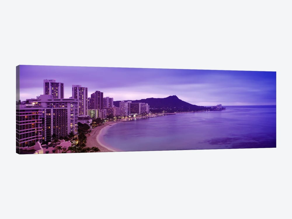 Buildings at the coastline with a volcanic mountain in the background, Diamond Head, Waikiki, Oahu, Honolulu, Hawaii, USA by Panoramic Images 1-piece Canvas Wall Art