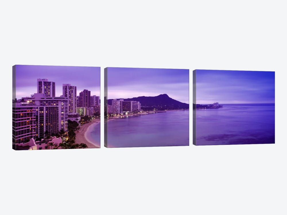 Buildings at the coastline with a volcanic mountain in the background, Diamond Head, Waikiki, Oahu, Honolulu, Hawaii, USA by Panoramic Images 3-piece Canvas Artwork