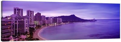 Buildings at the coastline with a volcanic mountain in the background, Diamond Head, Waikiki, Oahu, Honolulu, Hawaii, USA Canvas Art Print