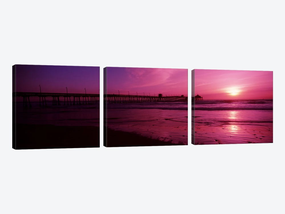 Pier in the pacific ocean at dusk, San Diego Pier, San Diego, California, USA #2 by Panoramic Images 3-piece Canvas Wall Art