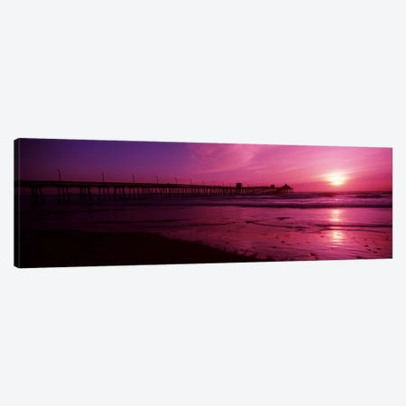 Pier in the pacific ocean at dusk, San Diego Pier, San Diego, California, USA #2 Canvas Print #PIM10810} by Panoramic Images Canvas Art Print