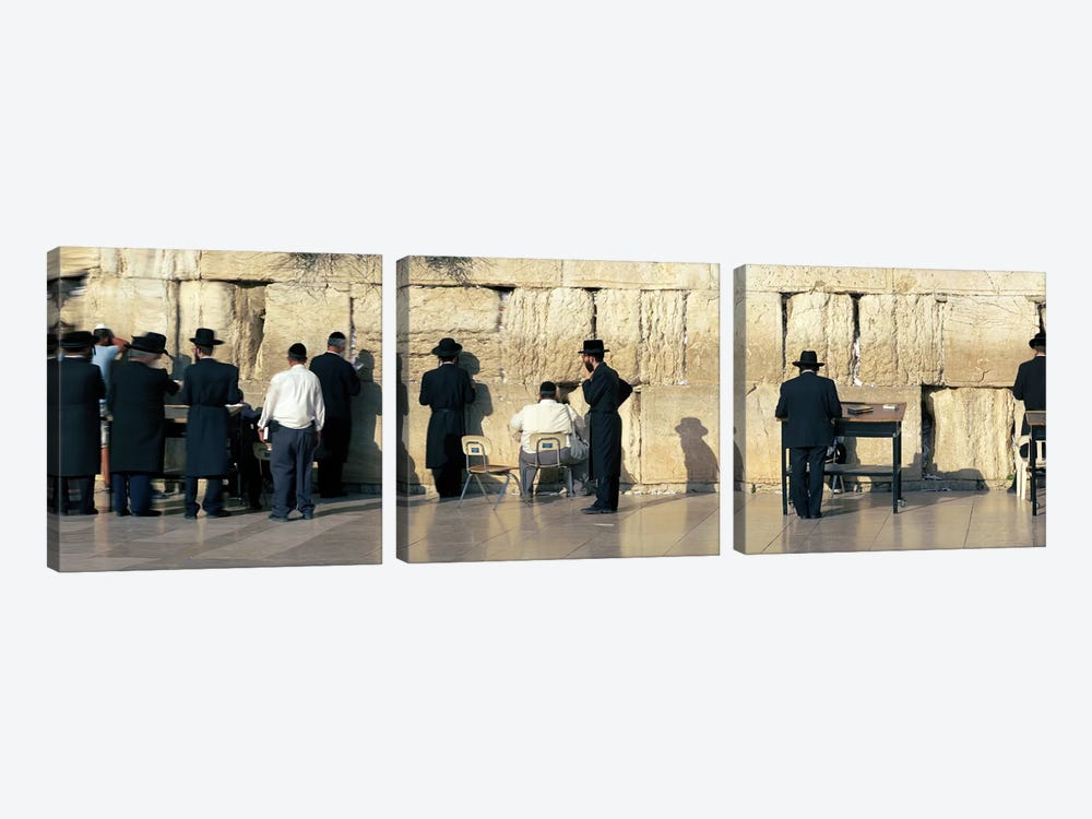 People praying at Wailing Wall, Jerusalem, Israel by Panoramic Images 3-piece Canvas Print
