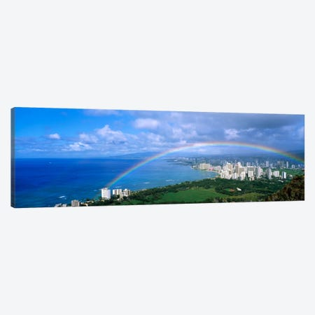 Rainbow Over A CityWaikiki, Honolulu, Oahu, Hawaii, USA Canvas Print #PIM1081} by Panoramic Images Canvas Art Print