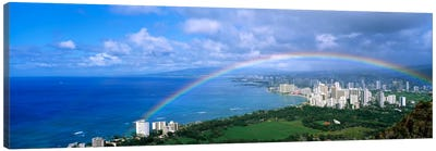 Rainbow Over A CityWaikiki, Honolulu, Oahu, Hawaii, USA Canvas Art Print