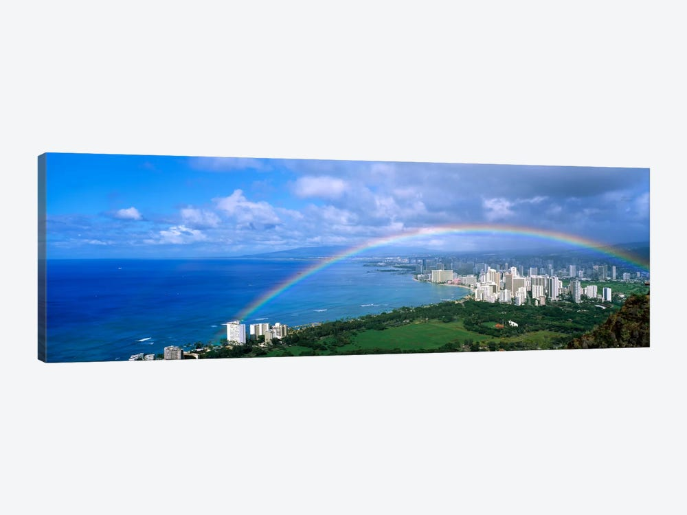 Rainbow Over A CityWaikiki, Honolulu, Oahu, Hawaii, USA by Panoramic Images 1-piece Canvas Art Print