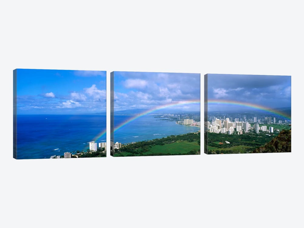 Rainbow Over A CityWaikiki, Honolulu, Oahu, Hawaii, USA by Panoramic Images 3-piece Canvas Art Print