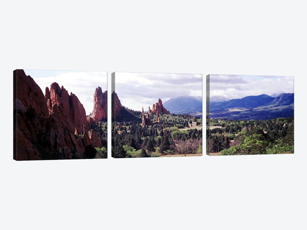 Rock formations on a landscape, Garden of The Gods, Colorado Springs, Colorado, USA by Panoramic Images 3-piece Canvas Print