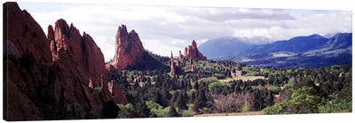 Rock formations on a landscape, Garden of The Gods, Colorado Springs, Colorado, USA Canvas Art Print