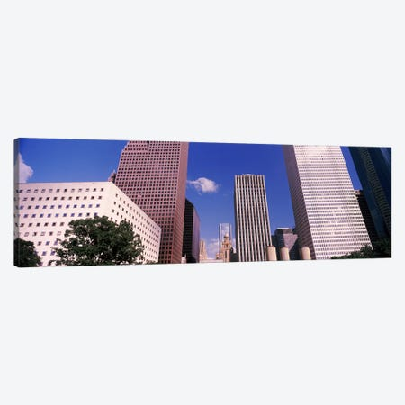 Low angle view of Downtown skylines, Houston, Texas, USA Canvas Print #PIM10822} by Panoramic Images Canvas Wall Art