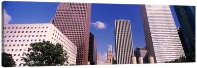 Low angle view of Downtown skylines, Houston, Texas, USA Canvas Art Print