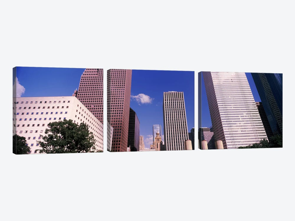 Low angle view of Downtown skylines, Houston, Texas, USA by Panoramic Images 3-piece Canvas Print