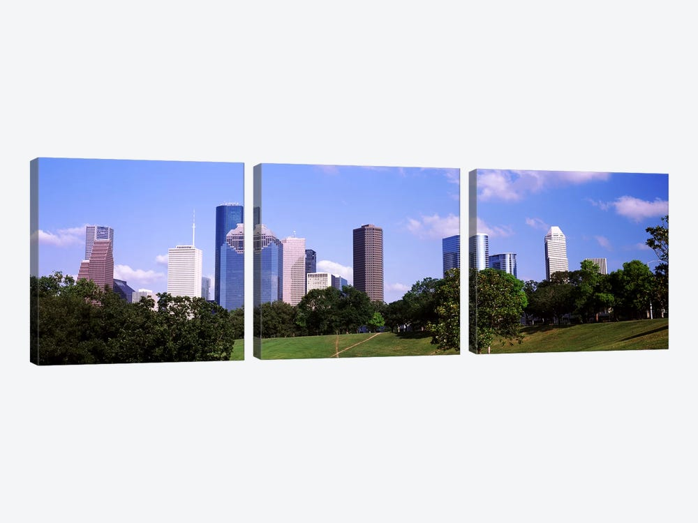 Downtown skylines, Houston, Texas, USA by Panoramic Images 3-piece Canvas Wall Art